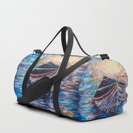 Wooden Boat at Sunrise - original oil painting with palette knife #society6 #decor #boat Duffle Bag