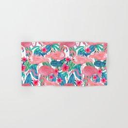 Tropical Flamingo Watercolor Floral Hand & Bath Towel