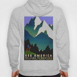 See America Montana - Retro Travel Poster Hoody