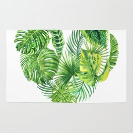 heart made of watercolor tropical leaves Rug