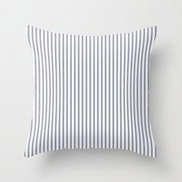 Dark Sargasso Blue Mattress Ticking Narrow Striped Pattern - Fall Fashion 2018 Throw Pillow