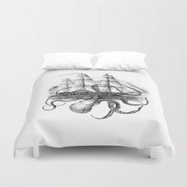 Octopus Attacks Ship on White Background Duvet Cover