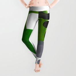 Mid Century Vintage 70's Design Abstract Minimalist Colorful Pop Art Olive Green Dark Green Grey Leggings