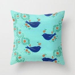 Blue Fiesta Bird Throw Pillow