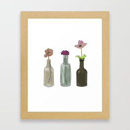 Flowers in Glass Bottles . Pastel Colors Framed Art Print