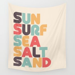Retro Sun Surf Sea Salt Sand Typography Wall Tapestry