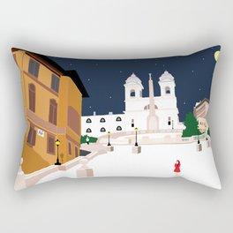 Spanish Steps in Snowy Rome Rectangular Pillow