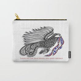 Veterans Happy Holiday and Thank You for Your Service - Zentangle Illustration Carry-All Pouch