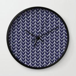 Herringbone Blue And White Wall Clock
