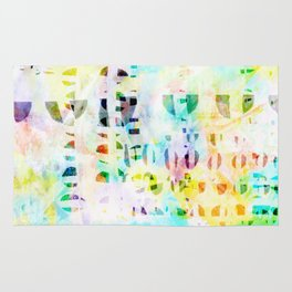 Abstract Puzzle Geos,Watercolor Geometric Painting in Colorful Pastel Rug