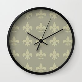 Nola fleur de lis ....Complimentary color harmony, yellow/purple Wall Clock
