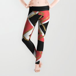 Chic Coral Pink Black and Gold Square Geometric Leggings