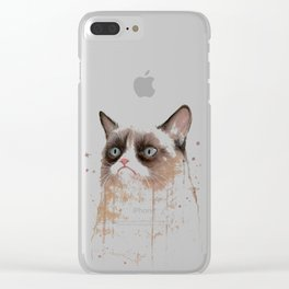 Grumpy Watercolor Cat Geek Meme Whimsical Animals Clear iPhone Case