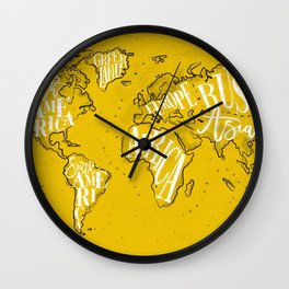 Worldmap vintage yellow Wall Clock