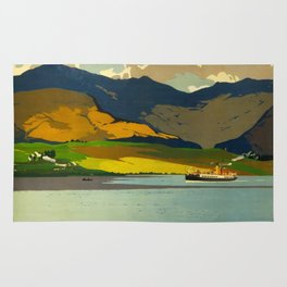 Loch Awe Vintage Mid Century Art Travel Poster British Railways Colorful Landscape Rug