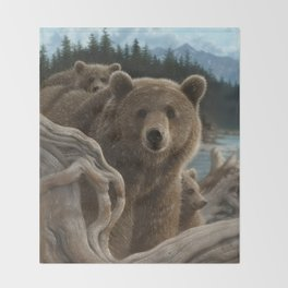 Brown Bear With Cubs - Backpacking Throw Blanket