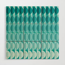 Leaves in the moonlight - a pattern in teal Wood Wall Art