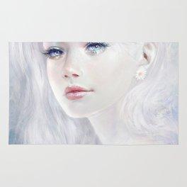 Ethereal - White as ice beatiful girl portrait Rug