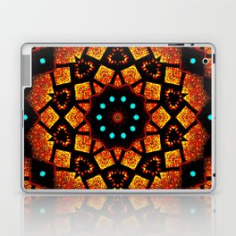 Bright Red Orange Mosaic Kaleidoscope Mandala Laptop & iPad Skin