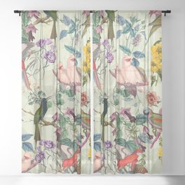 Floral and Birds VIII Sheer Curtain