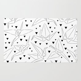 Japanese Origami white paper cranes sketch, symbol of happiness, luck and longevity Rug