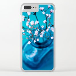 BLUE-WHITE BABYBREATH Clear iPhone Case