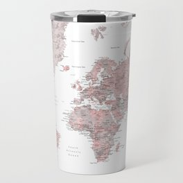 Dusty pink and grey detailed watercolor world map Travel Mug