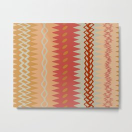 Assorted Zigzags And Waves Sienna Peach Grey Metal Print