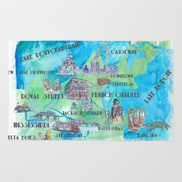 New Orleans Louisiana Favorite Travel Map with Touristic Highlights in colorful retro print Rug