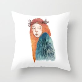 Berries Crown Girl Throw Pillow