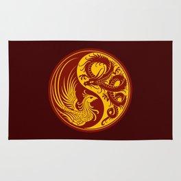 Yellow and Red Dragon Phoenix Yin Yang Rug
