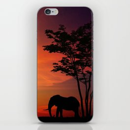 Elephants in the African sunset iPhone Skin
