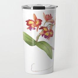 Red Orange Orchid Travel Mug