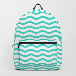 Turquoise and White Chevron Wave Backpack