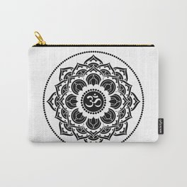 Black and White Mandala | Flower Mandhala Carry-All Pouch
