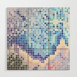 Pixelated Nebula Blue Wood Wall Art