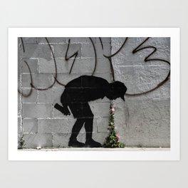 Bansky graffiti kid sick Art Print