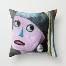 Robot with a Pearl Earring Throw Pillow