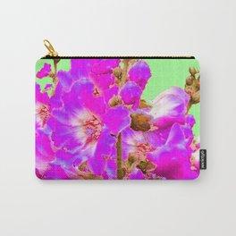 Fuchsia Purple Holly Hocks Pattern  Mint Green Flora Art Carry-All Pouch