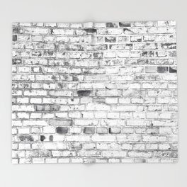 Withe brick wall Throw Blanket