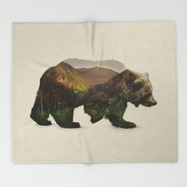 North American Brown Bear Throw Blanket