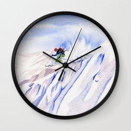 Powder Skiing Wall Clock