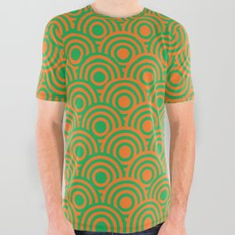 op art pattern retro circles in green and orange All Over Graphic Tee