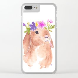 Floppy Ear Bunny Floral Watercolor Clear iPhone Case