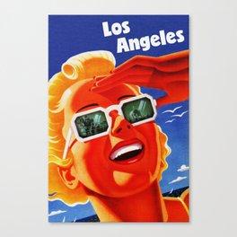Retro Los Angeles California Travel Poster Canvas Print