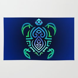 Tribal Turtle Ombre Background Rug