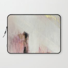 Sunrise [2]: a bright, colorful abstract piece in pink, gold, black,and white Laptop Sleeve
