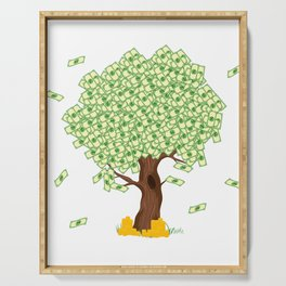 Tree of Money T-shirt Design For those who wants to have luck. Here's a tree of dollars. A must have Serving Tray