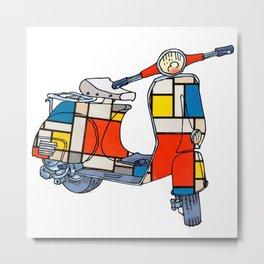 Vespa scooter, Piet Mondrian -  motorbike, motorcycle - Pop Culture Metal Print