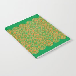 op art pattern retro circles in green and orange Notebook